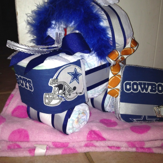 A Diaper Cradle, And Wipey Case In Dallas Cowboy Matching Print! Done By  Me. Cowboy Baby ShowerBaby ...