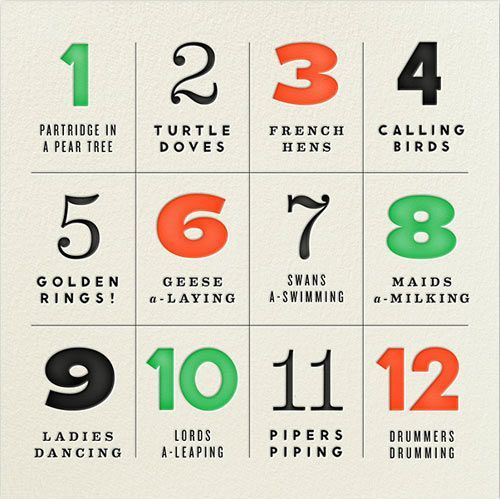 """Typography and the """"12 Days of Christmas"""" carol? This match made in holiday heaven came from designer Erin Jang of The Indigo Bunting and her designs are now available on the Paperless Post. I dare you not to get the song stuck in your head now."""