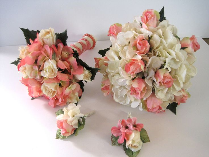 coral hydrangeas   Ivory Coral Pink Hydrangea and Rose Bouquet Set, Brides Bouquet Grooms ...