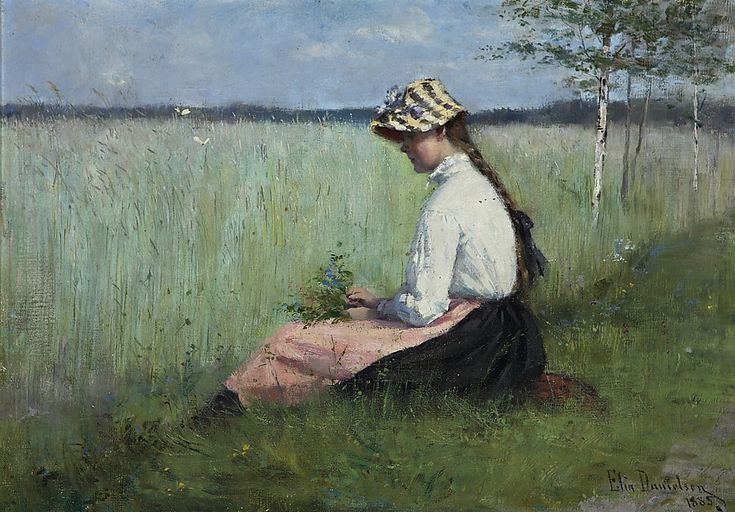 Girl in a meadow,  Elin Danielson - Gambogi. Finnish (1861 - 1919)