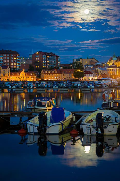 Moonrise In Karlskrona, Sweden