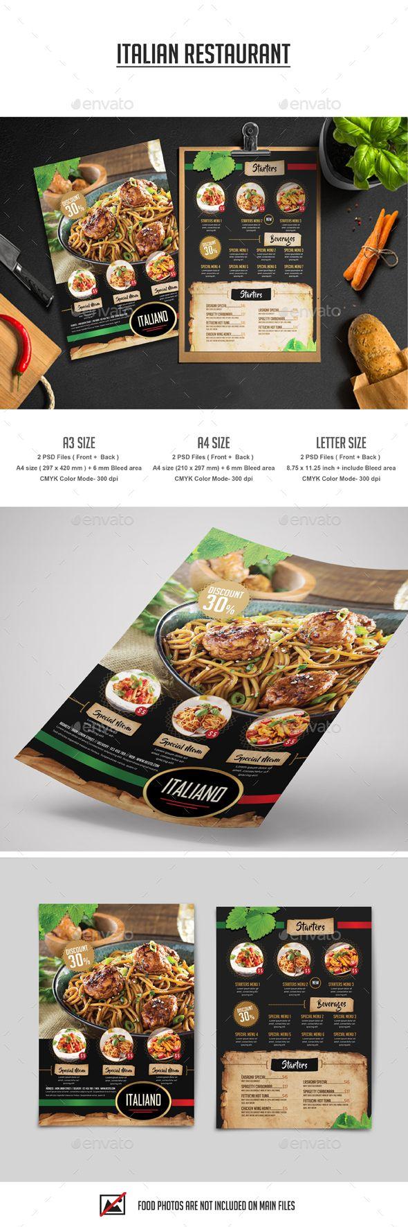 Italian Restaurant Flyer — Photoshop PSD #italian menu #brochure • Download ➝ https://graphicriver.net/item/italian-restaurant-flyer/18945477?ref=pxcr