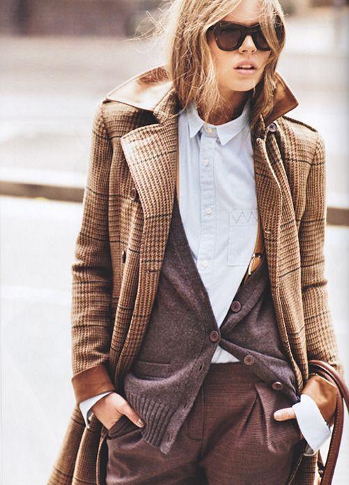 Shirt, cardigan, and coat.