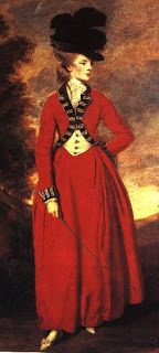 """Redingote, from the English """"Riding Coat"""", was originally a men's fashion item, but it was eventually adapted for women as a long coat with high collar, with or without lapels, and long sleeves. It was either paired with a waistcoat or made with a fake waistcoat piece at the front and was worn over a modified version of a men's shirt complete with jabot. It was worn not only for horseback riding, but also as a travelling gown."""