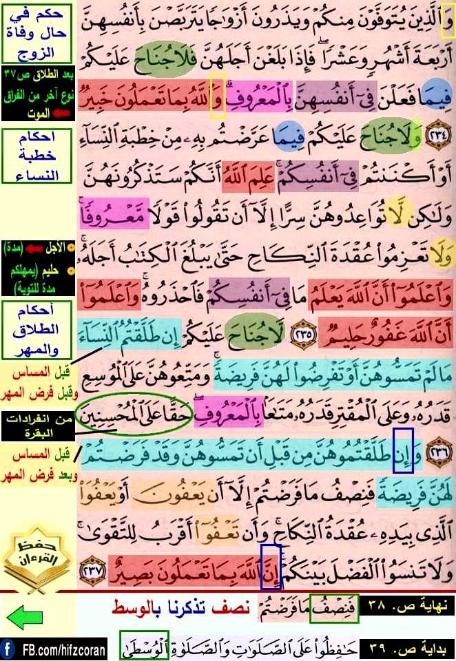 تثبيت حفظ سورة البقرة صفحة ٣٨ In 2021 Quran Verses Verses Quran