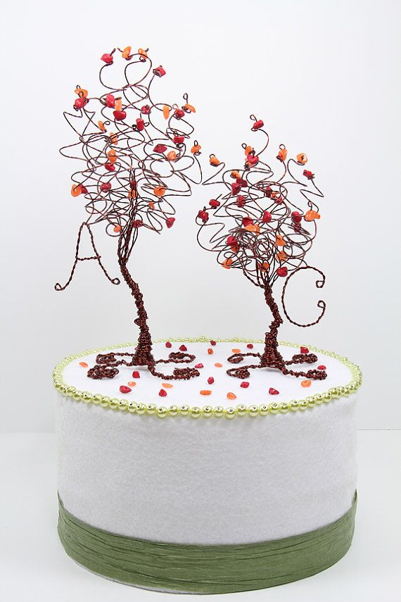autumn wedding cake toppers fall wedding two trees cake topper custom wire tree 10909