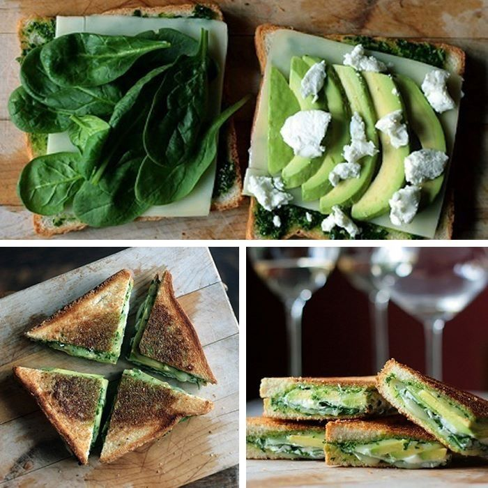 Healthy tosti with spinach, pesto, cheese and avocado Vegetarian Recipes, Cooking Recipes, Healthy Recipes, Vegan Vegetarian, Snack Recipes, Easy Delicious Recipes, Yummy Food, Love Food, Food Porn
