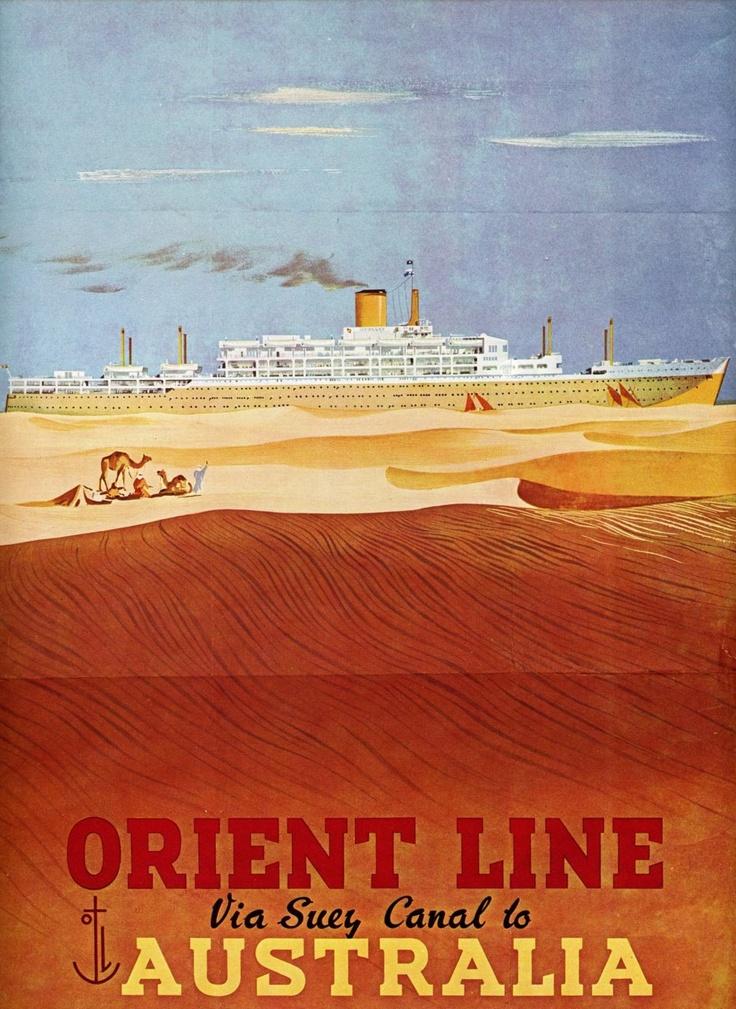 Australia via Orient Line and the Suez Canal ~ vintage travel poster