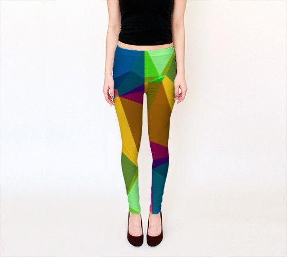 Mustard, Green, Blue and Fuschia Geometric Design Polyspandex Print Leggings