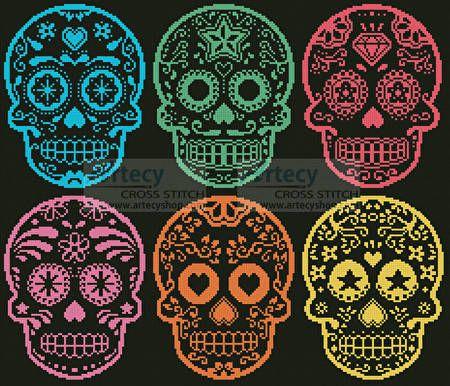 Mexican Sugar Skulls - cross stitch pattern designed by Tereena Clarke…