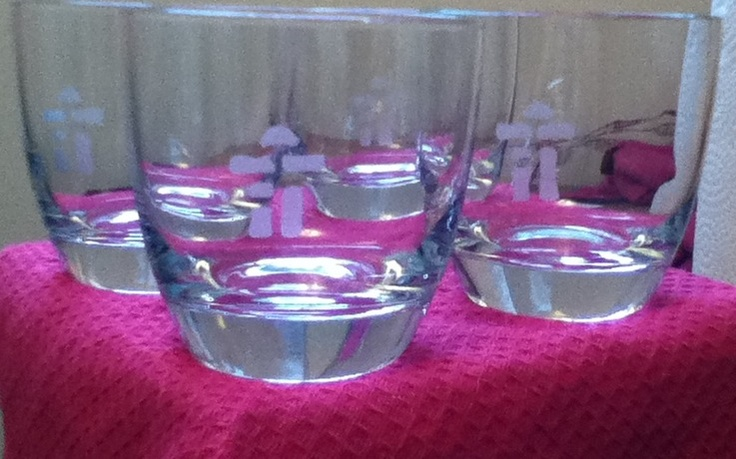 """Etched Inuksuk Glasses. The Inuksuk is a big part of my Inuit culture. They represent many things and were used to communicate such things as direction, good hunting areas, or simply """" Someone Was Here"""""""
