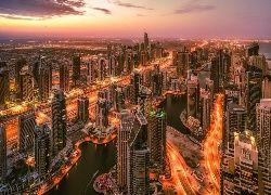 Drapacze, Chmur, Drogi, Mosty, Zachód, Słońca, Dubaj