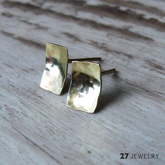 Hammered mini rectangle 27jewelry handmade one of a kind brass earrings