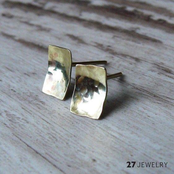 Hammered mini rectangle 27jewelry handmade one of a kind brass earrings
