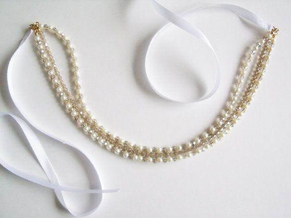 Bridal Crystal Ribbon Headband Crystal Bridal By