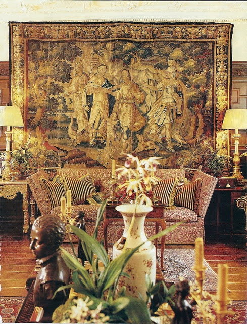Antique tapestry.....and Fortuny!  Yikes!    Fabulous!