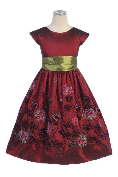 Burgundy Taffeta Dress with Yarn Embroidered Flowers