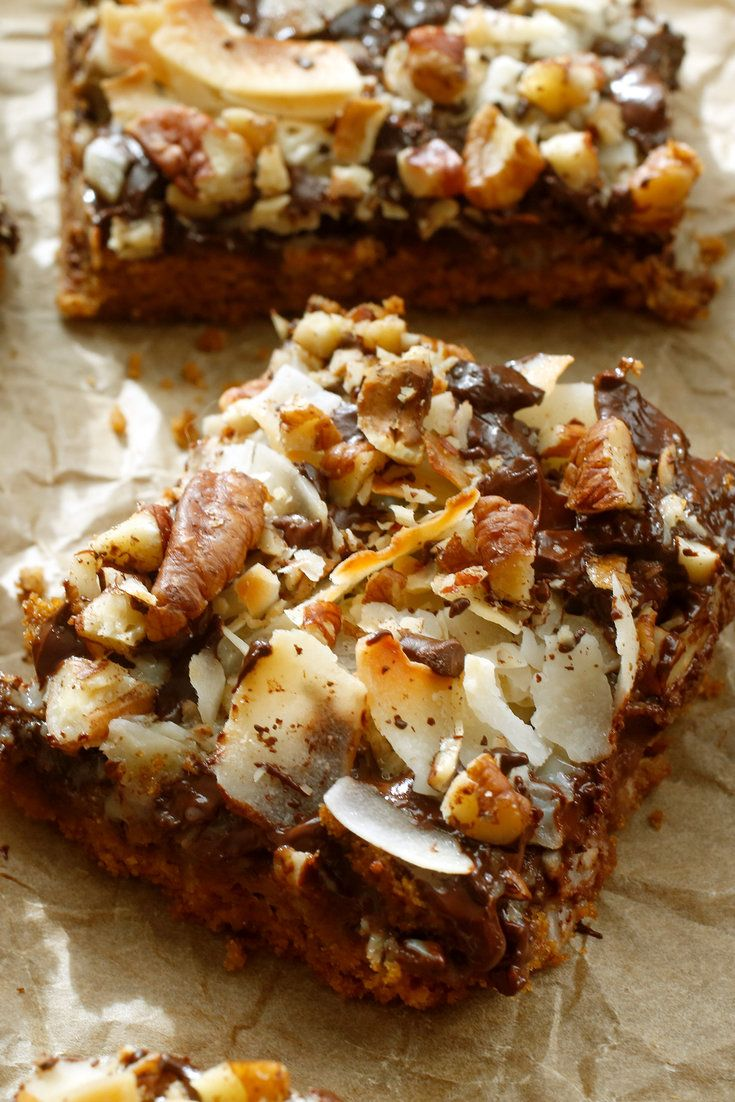 NYT Cooking: Coconut dream bars. Magic cookie bars. Hello Dolly bars. You've  seen these classic treats at bake sales, holiday parties and potlucks over the years. But they tend to crumble when cut, thanks to a thin graham cracker crust. And, topped with gobs of super-sweet shredded coconut, sweetened condensed milk and semisweet chocolate, they have a cloying bite that may be too mu...