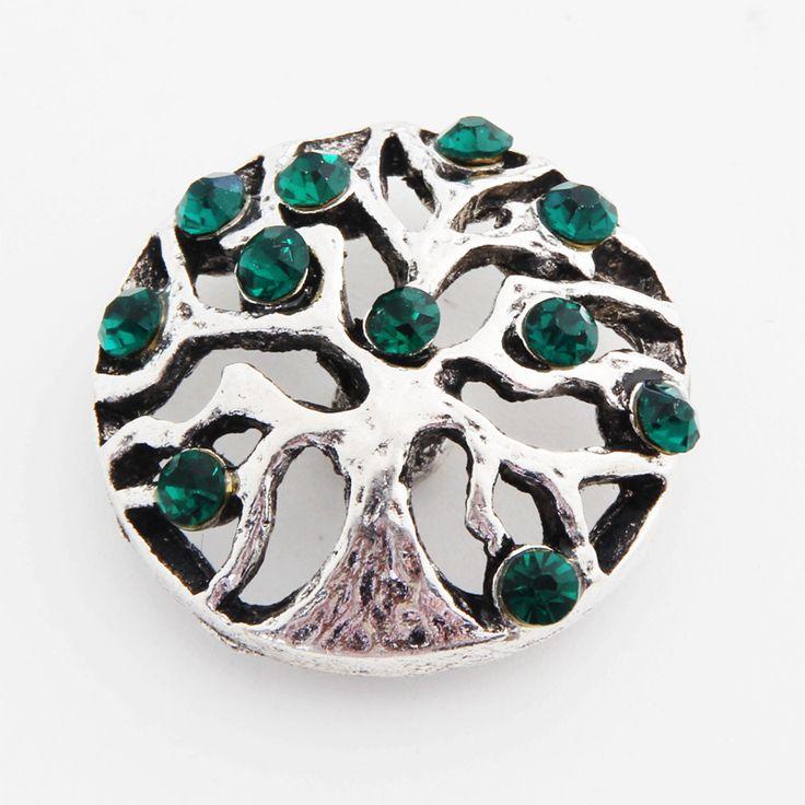 4colors Life Tree crystal rhinestone bracelet Metal  18mm snap button for leather bracelet &bangle M424bracelets for women