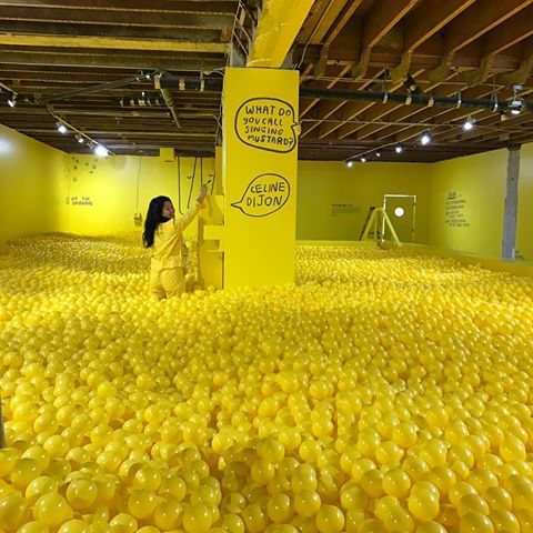 @naomijulia putting the finishing touches on the yellow ball pit. Illustrations by Carissa of @peopleiveloved