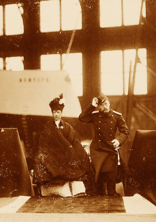 His Majesty The Emperor Nicholas II of Russia with his mother the Dowager Empress Maria Feodorovna at the launch of the second class cruiser Pearl, 14 August 1903.