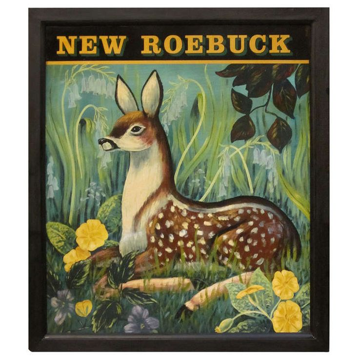 Authentic English pub sign (two-sided) featuring a scenic painting of a recumbent roebuck deer among foliage, entitled: New Roebuck, England 20th Cent.