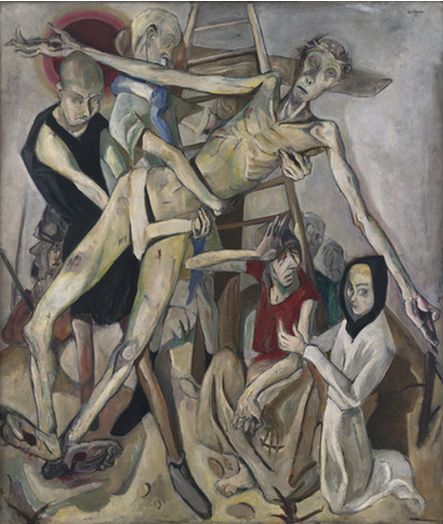 """Max Beckmann (German, 1884–1950), 1917, Descent from the Cross, Oil on canvas. This painting was made a part of  Entartete Kunst, the Nazi's 1937 exhibition  """"degenerate"""" avant-garde art, Munich."""