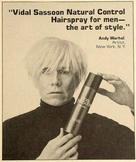 1985 Vidal Sassoon advertisement featuring Andy Warhol