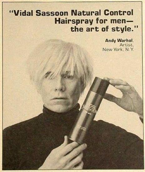 Vintage Vidal Sassoon advert featuring Andy Warhol, 1985: Hair Products, Vintage Vidal, Daily Fashion, Vidal Sassoon, The Artists, Vintage Wardrobe, Ripped Vidal, Sassoon Ads, Andy Warhol