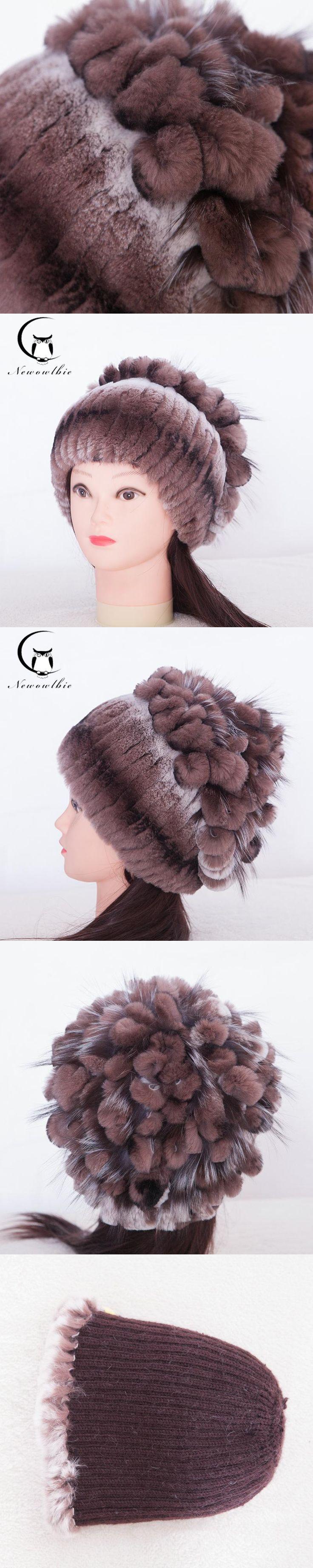Women's Cap Ear Winter Fur Hat For Women Real Rex Rabbit Fur Hats With Silver Fox Fur Knitted Flower Pattern Hot Women Fur Cap