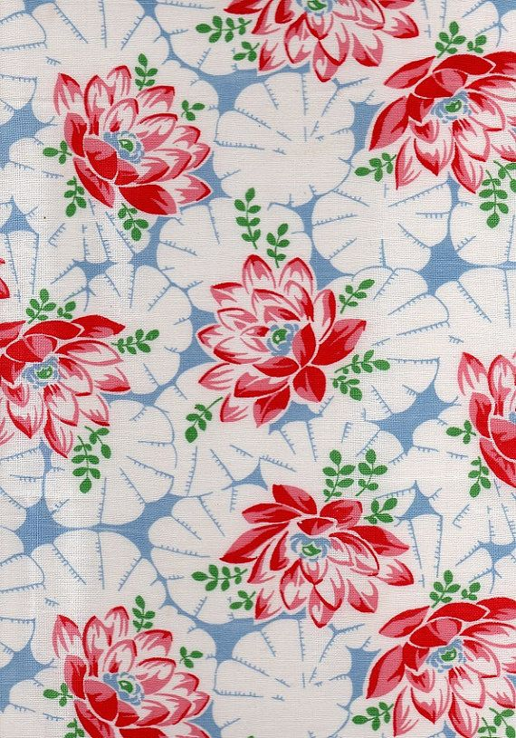 1940s Vintage Fabric Retro Design Cotton by AdeleBeeAnnPatterns, $20.00