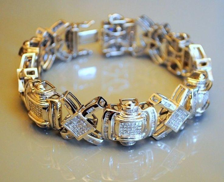 Cool Amazing 14 k White Gold Men's Diamond Bracelet-Princess & Baguette Cut - Twd 17-18 ct 2017-2018 Check more at http://24shop.cf/fashion/amazing-14-k-white-gold-mens-diamond-bracelet-princess-baguette-cut-twd-17-18-ct-2017-2018/