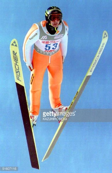 Jens Weissflog of Germany soars to victory in the World Cup Ski Jumping Large Hill event in Sapporo Japan 23 January 1994 Weissflog scored 1320 and...