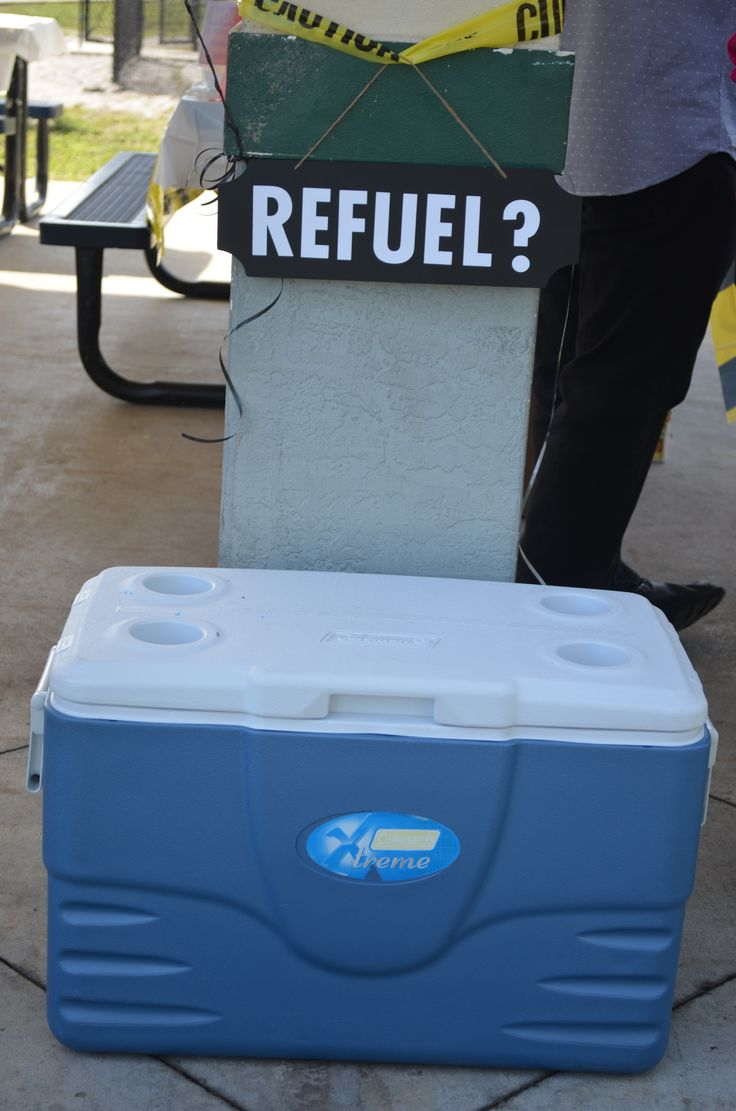 A wheel barrow would have been ideal to replace the cooler for our refuel station