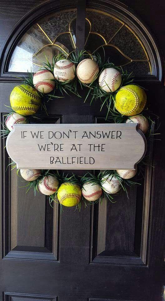 Wreath for baseball fan's house