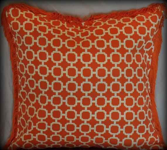 Funky Fringe Pillow Orange And White Lattice Print With