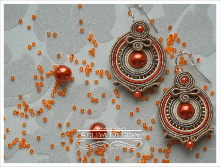 ROUND DORRIS - handmade soutache earrings. $25.00, via Etsy.