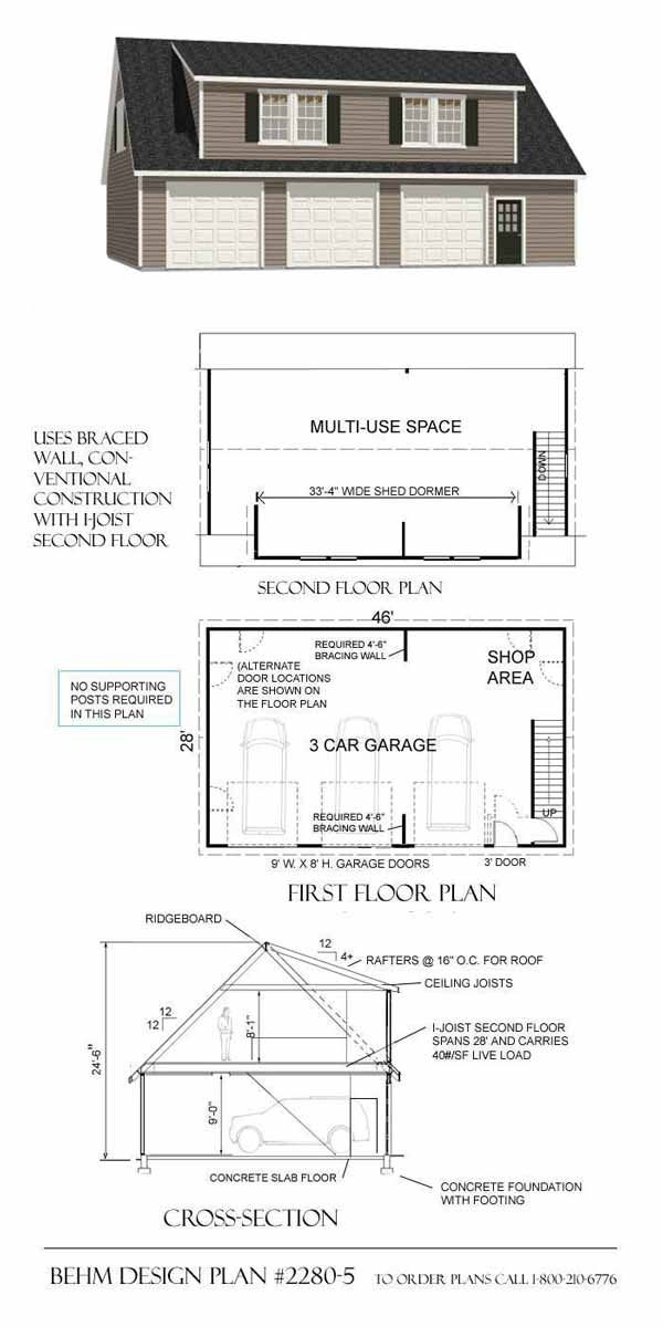Three Car GaragePlans With Multi Use Space Bitly