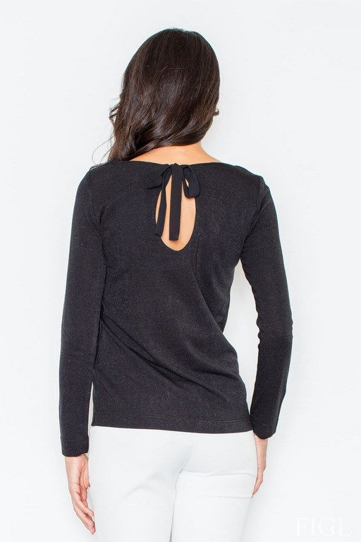 Czarny sweterek damski z wycięciem na plecach