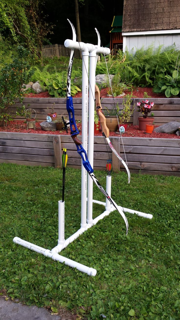 Bow and arrow holder made from pvc pipe, great for home archery ranges.