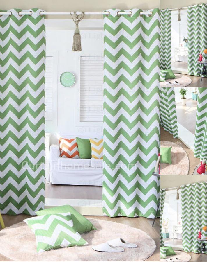 classique moderne polyester gomtrique chevron vert chambre coucher rideaux modernes chs03021617343