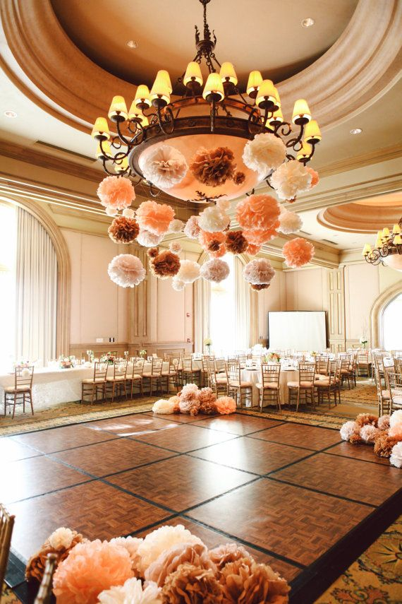 Best 25 wedding pom poms ideas that you will like on for Hanging pom poms from ceiling