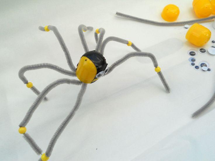 Spider - plastic egg candy, chenille stems, beads,plastic mobile eyes