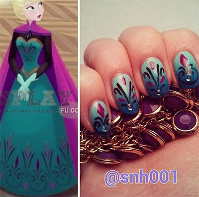 15 + Disney Frozen Elsa Nail Art Designs, Ideas & Stickers 2014   Elsa Nails