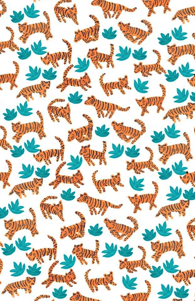 """dancing tigers in the jungle"" by Elena Mir www.elenamir.com #kids #pattern"
