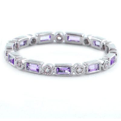 Stackable Round Diamond & Baguette Amethyst Ring in 18KW Gold 0.50ctw