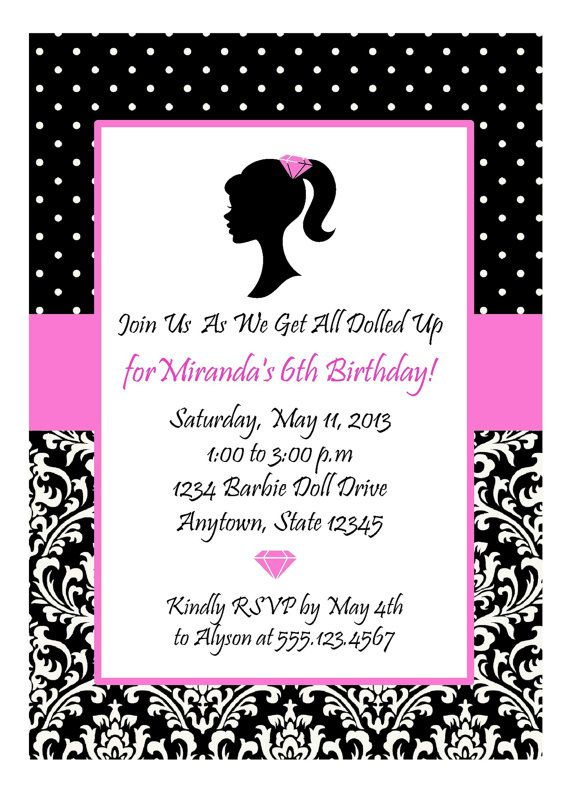 BARBIE PARTY Invitation / Glamour by traditionsbydonna on Etsy, $13.00