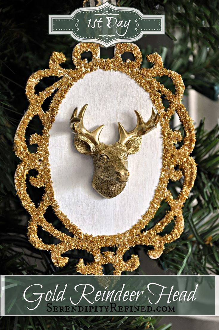 Diy retro christmas decorations - Diy Gold And White Reindeer Trophy Mount Ornament Tutorial Christmas