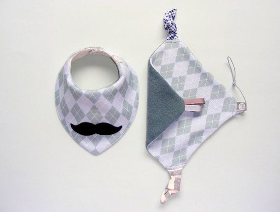 Baby Dribble bib and Baby Comforter Set of Drool by pupaforkids