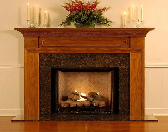 Modern wood fireplace mantel decor for Fire place mantel ideas
